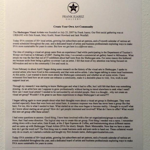 About SVA written by Frank Juarez