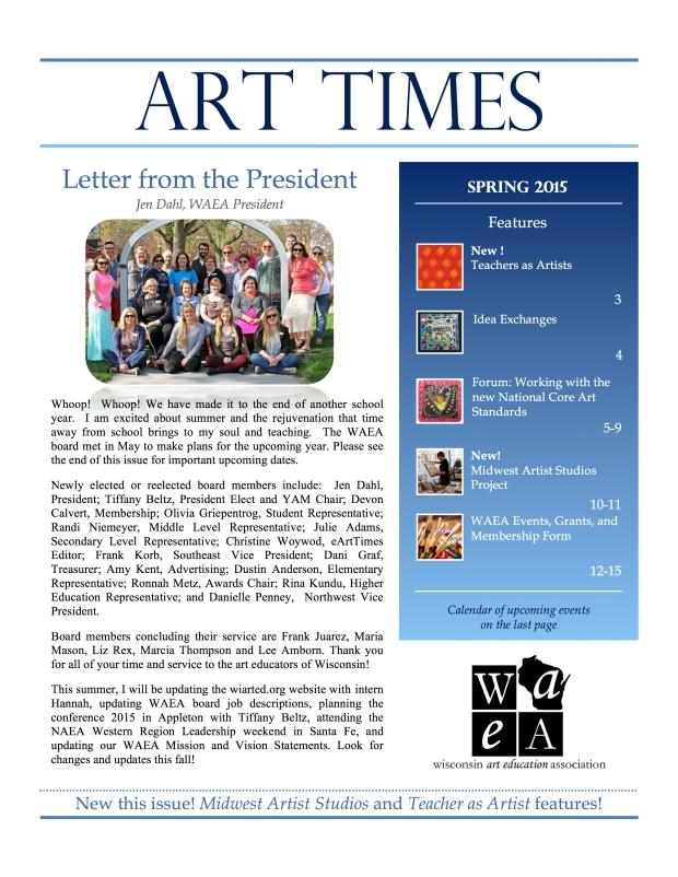 WAEA Spring 2015 eArtTimes Cover